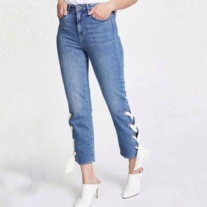 PAIGE Marvella Crop Scarf Lace-Up Hem Jeans